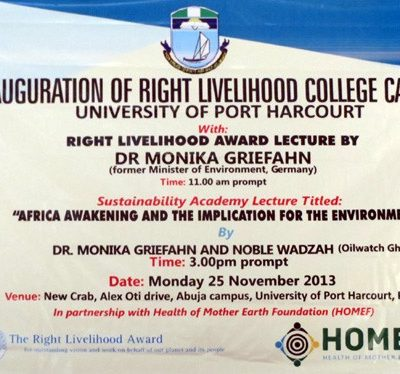 Einweihung des Right Livelihood College in Nigeria