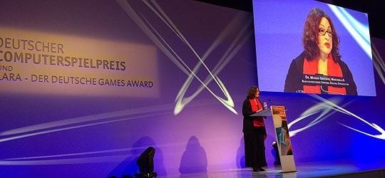 Bei der Verleihung des Deutschen Computerspielpreises
