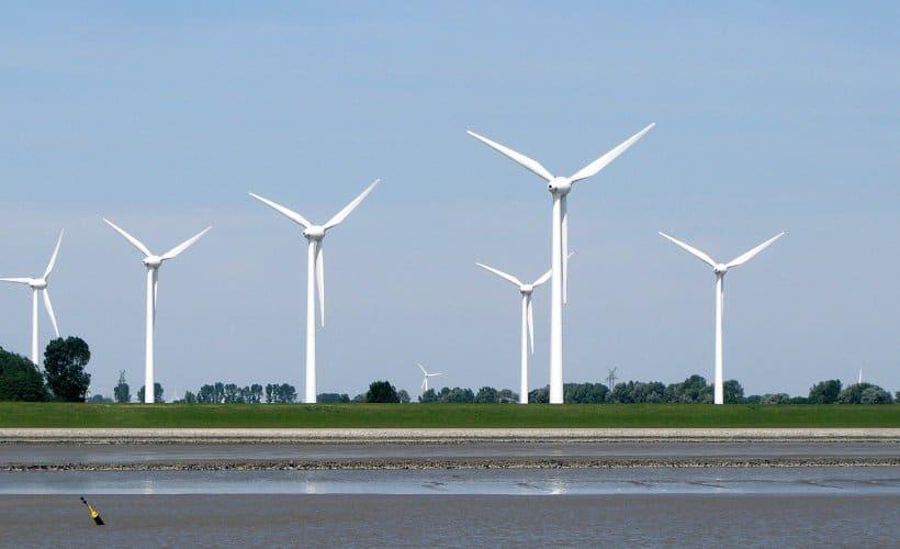 Wind turbines at the North Sea coast.