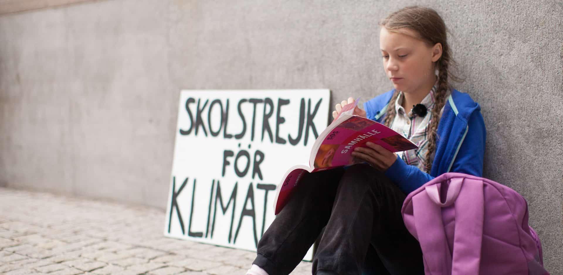 Greta Thunberg beim Sitzstreik
