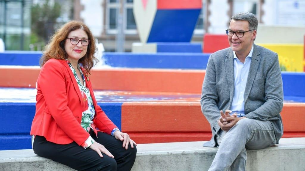 Monika Griefahn mit Thomas Westphal, Oberbürgermeisterkandidat für Dortmund