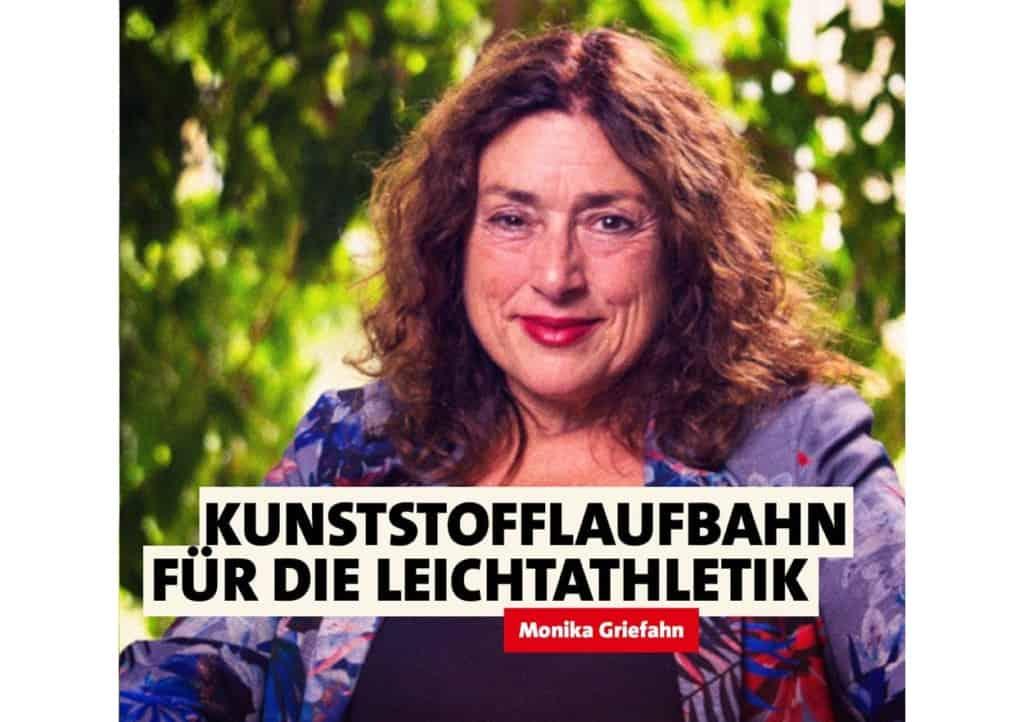 Kunststofflaufbahn für die Leichtathletik   Monika Griefahn