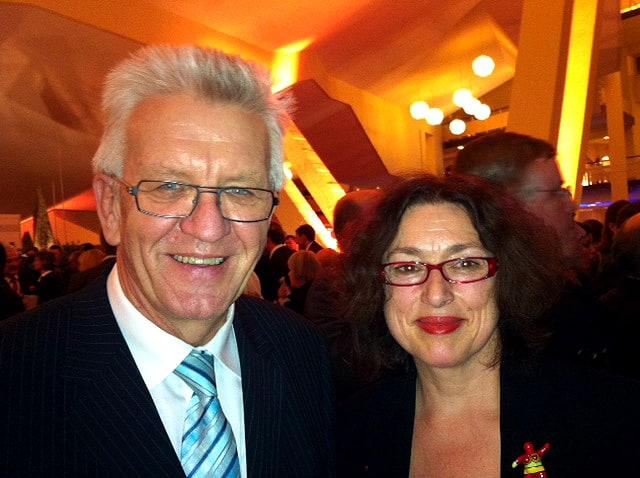 2013: Mit Winfried Kretschmann bei Feierlichkeiten zur deutsch-französischen Freundschaft.