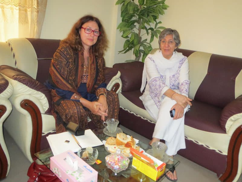"2012: Monika Griefahn and the Afghan doctor and laureate of the ""Alternative Nobel Price"" Sima Samar."