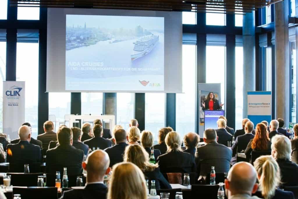 2016: Monika Griefahn beim Kreuzfahrtkongress in Hamburg. Foto: Udo Geisler