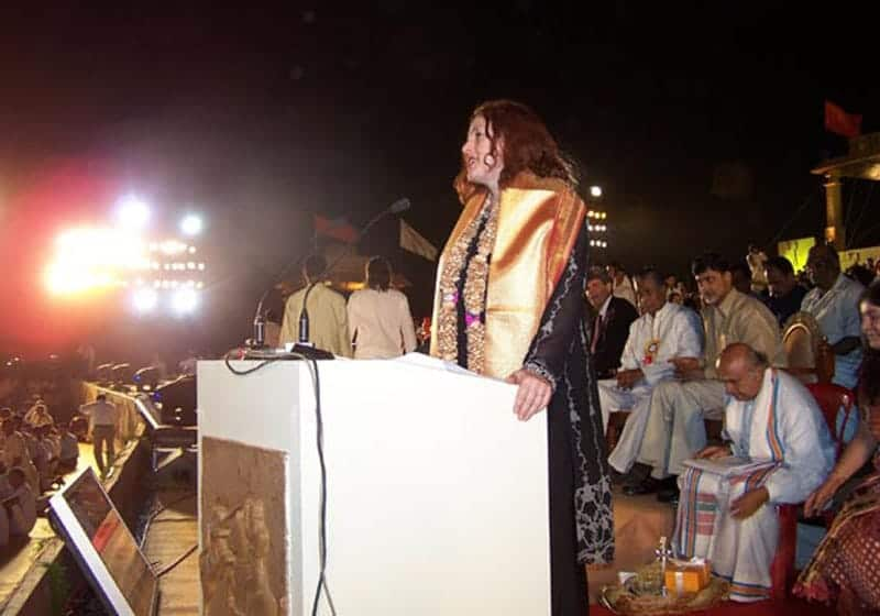 2006: Monika Griefahn gives a speech in Bangalore, India.