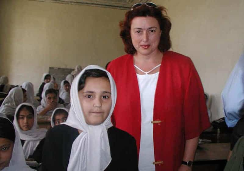 2003: As Member of Parliament Monika Griefahn visits an all girls' school in Kabul, Afghanistan.
