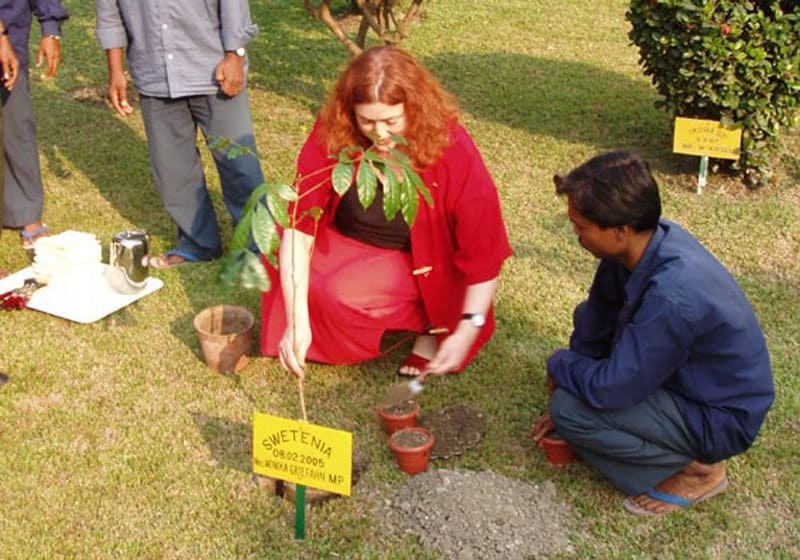 2005: Never too late to plant a tree: Monika Griefahn in Calcutta, India.