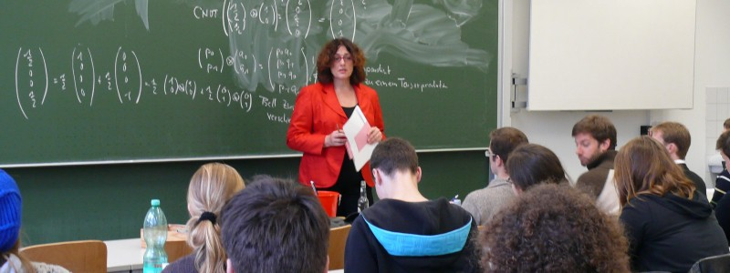 "Monika Griefahn as a guest lecturer at the Technical University Hamburg-Harburg in the seminar ""Environmental Policies and Sustainability"""